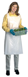 "Radnor 28"" X 55"" White 1.5 mil Medium Weight, Embossed Polyethylene Disposable Bib Apron With Top Loop And Side Ties"