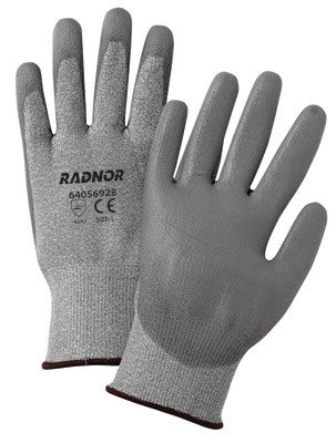 Radnor 2X Gray 13 Gauge High Denisity Polyurethane Cut Resistant Gloves With Seamless Knit Wrist, Polyurethane Palm Coating And HPPE Shell