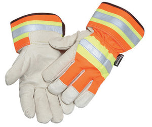 Radnor Large Orange And Gray Pigskin And Polyester Thinsulate Lined Cold Weather Gloves With Wing Thumb And Safety Cuffs