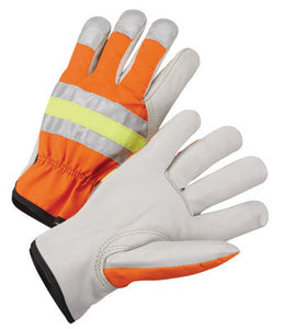 Radnor Small Gray And Hi-Viz Orange Grain Cowhide Unlined Drivers Gloves With Keystone Thumb, Slip-On Cuff And Color-Coded Hem