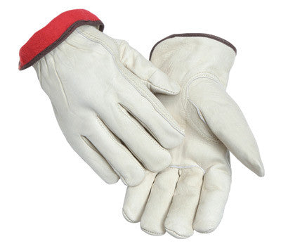 Radnor Large White Leather Fleece Lined Cold Weather Gloves With Keystone Thumb, Safety Cuffs, Color Coded Hem And Shirred Elastic Wrist