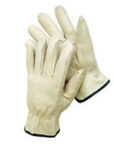 Radnor Large Premium Grain Leather Unlined Drivers Gloves With Keystone Thumb, Slip-On Cuff And Color-Coded Hem