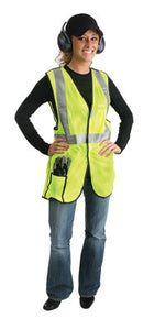 "Radnor 4X Yellow Lightweight Polyester Class 2 Break-Away Vest With Front Hook And Loop Closure, 2"" 3M Scotchlite Reflective Tape Striping And 2 Pockets"