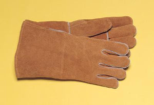 "Radnor Large Brown 14"" Shoulder Split Cowhide Cotton Lined Welders Gloves With Reinforced, Straight Thumb And Kevlar Stitching"