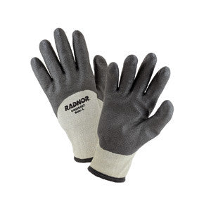 Radnor Large Black And Gray 7 Gauge Brushed Acrylic Terry Nylon Lned Cold Weather Gloves With Double Coated Air Infused PVC