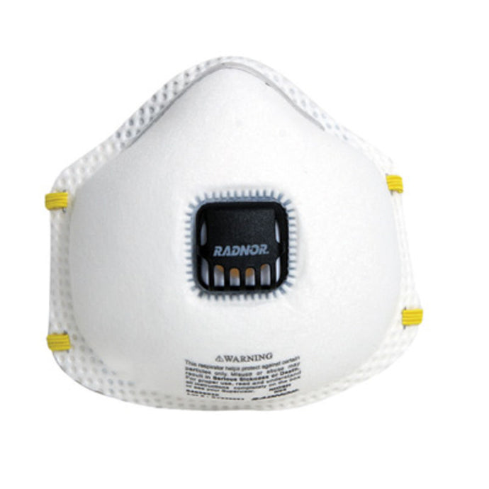 Radnor N95 Flame Resistant Particulate Disposable Respirator With Exhalation Valve And Adjustable Nose Clip (10 Disposable Particulate Respirators - Pack)