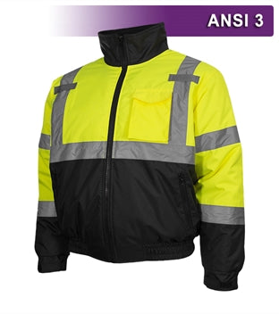 Safety Jacket: Hi Vis Bomber: Adjustable Hood: Waterproof