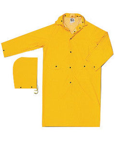 "River City Garments X-Large 49"" Yellow Classic .3500 mm PVC And Polyester Rain Coat With Snap Storm Fly Front Closure And Detachable Drawstring Hood"