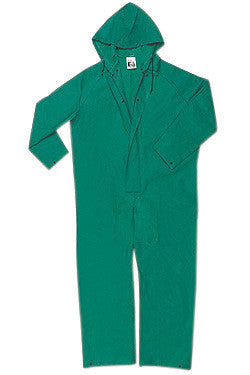 River City Garments 2X Green Dominator .4200 mm PVC And Polyester Flame Resistant Rain Coveralls With Double Storm Flap Over Front Zipper Closure And Attached Drawstring Hood