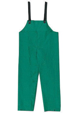 River City Garments Large Green Dominator .4200 mm PVC And Polyester Flame Resistant Rain Bib Pants With No Fly Closure And Elastic Adjustable Suspender
