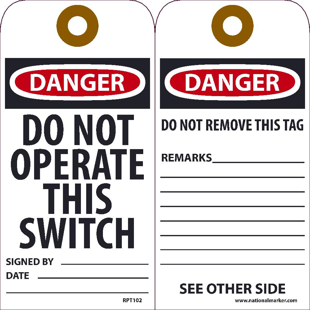Do Not Operate This Switch Tag - Pack of 25
