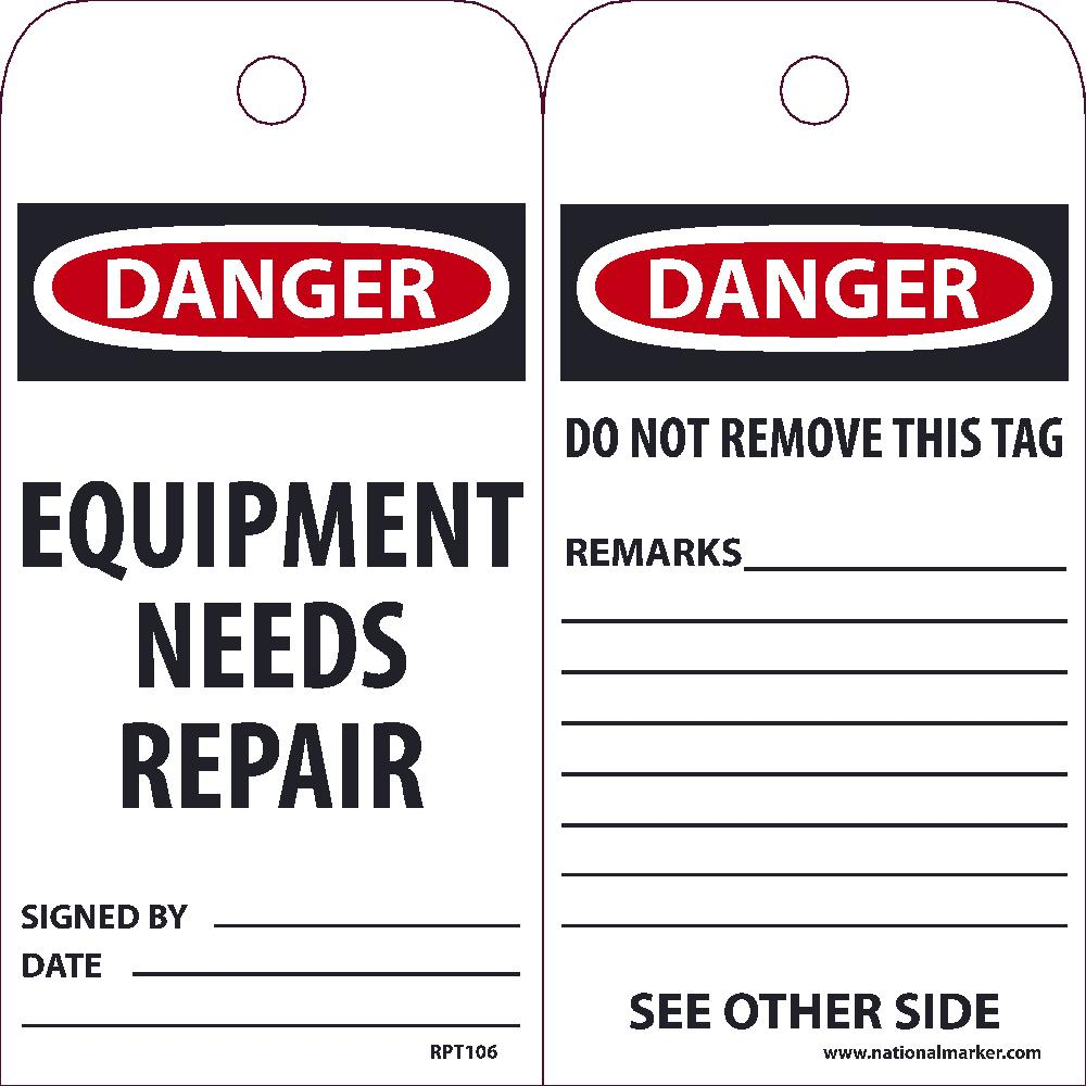Danger Equipment Needs Repair Tag - Pack of 25