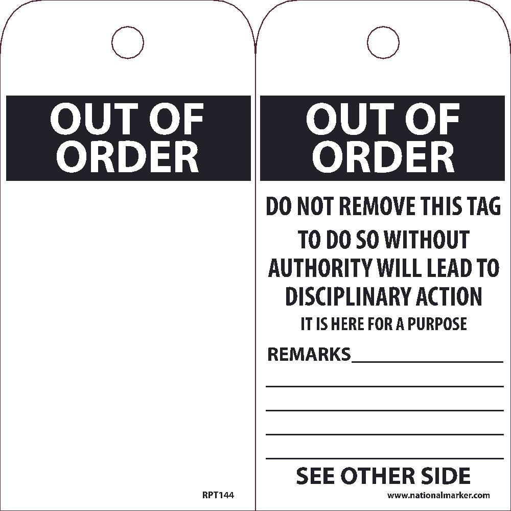 Out Of Order Tag - Pack of 25