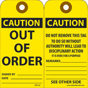 Caution Out Of Order Tag - Pack of 25