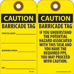 Caution Barricade Tag Potential Hazard Tag - Pack of 25