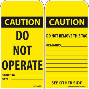 Caution Do Not Operate Tag - Pack of 25