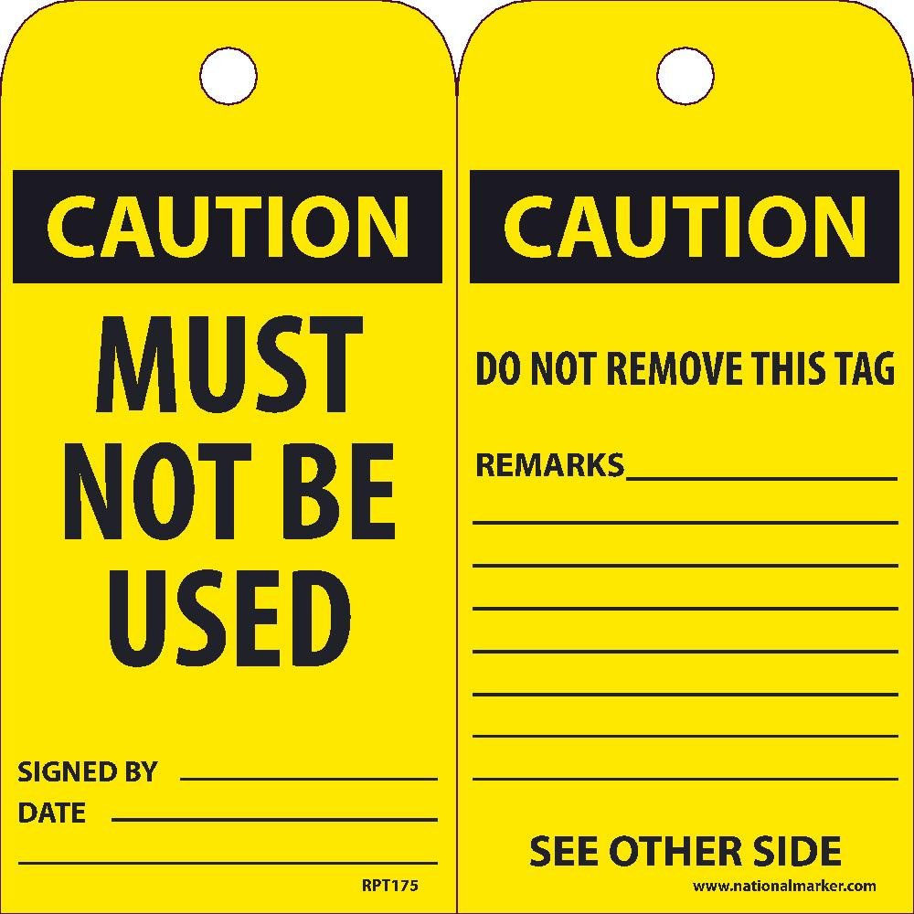 Caution Must Not Be Used Tag - Pack of 25
