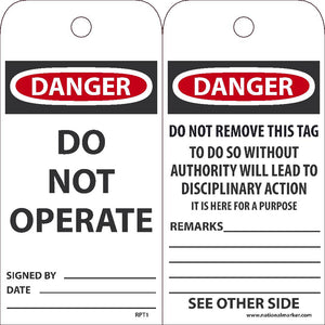 Danger Do Not Operate Tag - Pack of 25