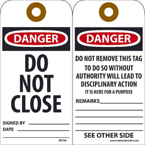 Danger Do Not Close Tag - Pack of 25