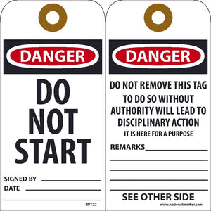 Danger Do Not Start Signed Tag - Pack of 25