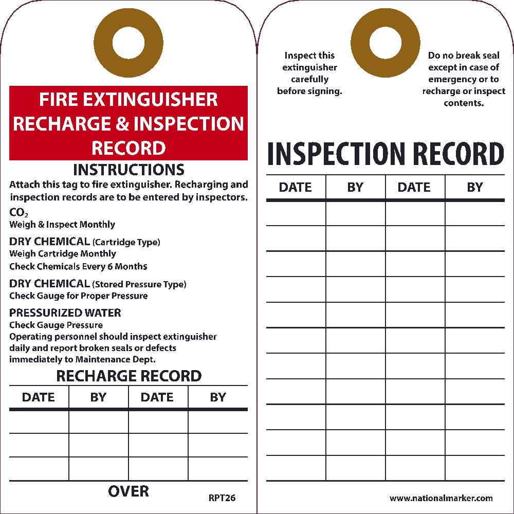 Fire Extinguisher Recharge & Inspection Record Tag - Pack of 25