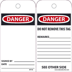 Danger Signed By___ Date___ Tag - Pack of 25