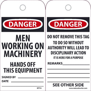 Danger Men Working On Machinery Hands Off This Equipment Tag - Pack of 25