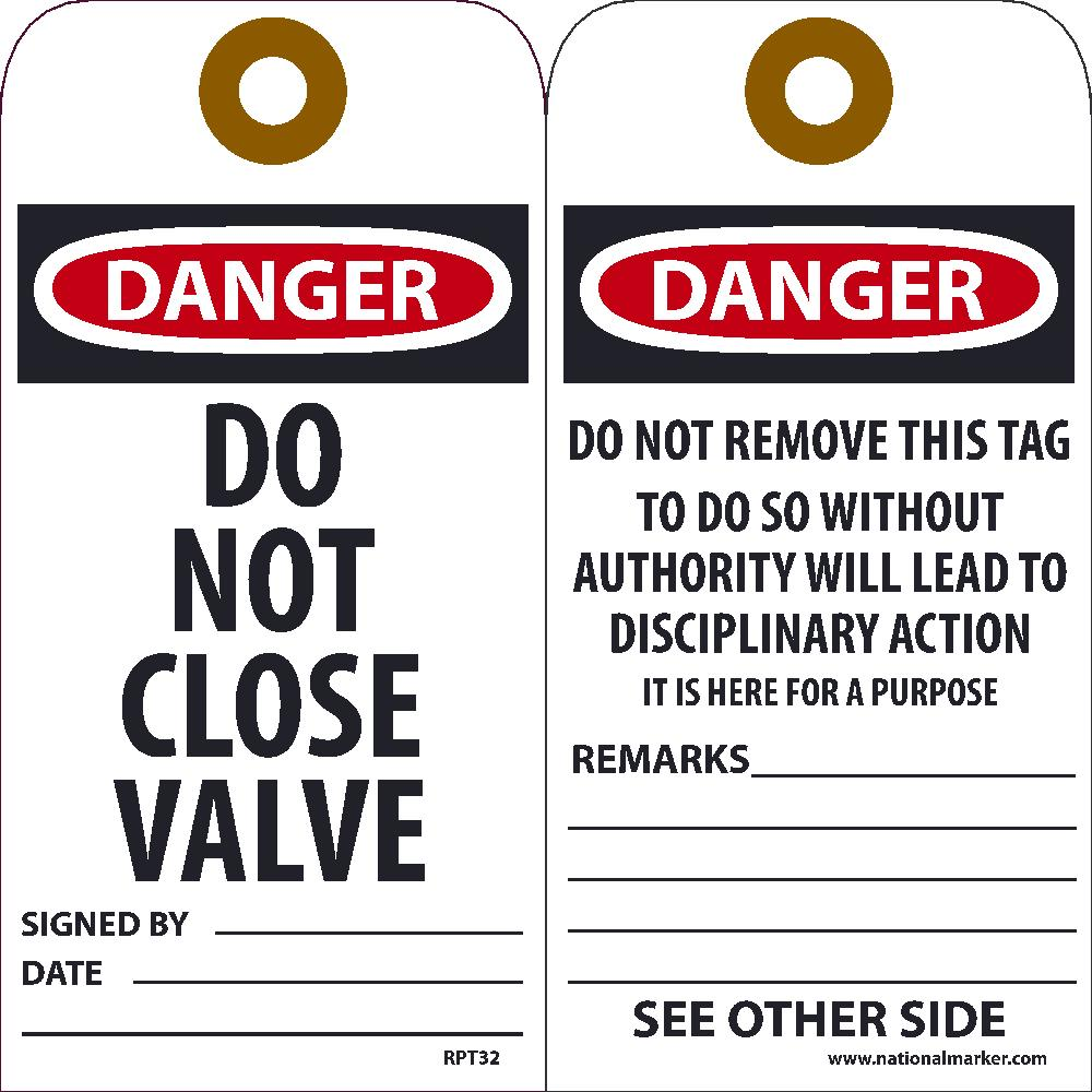 Danger Do Not Close Valve Tag - Pack of 25