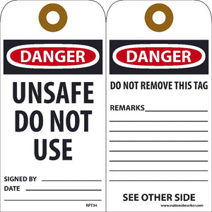 Danger Unsafe Do Not Use Signed By___ Date___Tag - Pack of 25