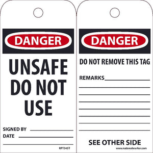 Danger Unsafe Do Not Use Tag - Pack of 25