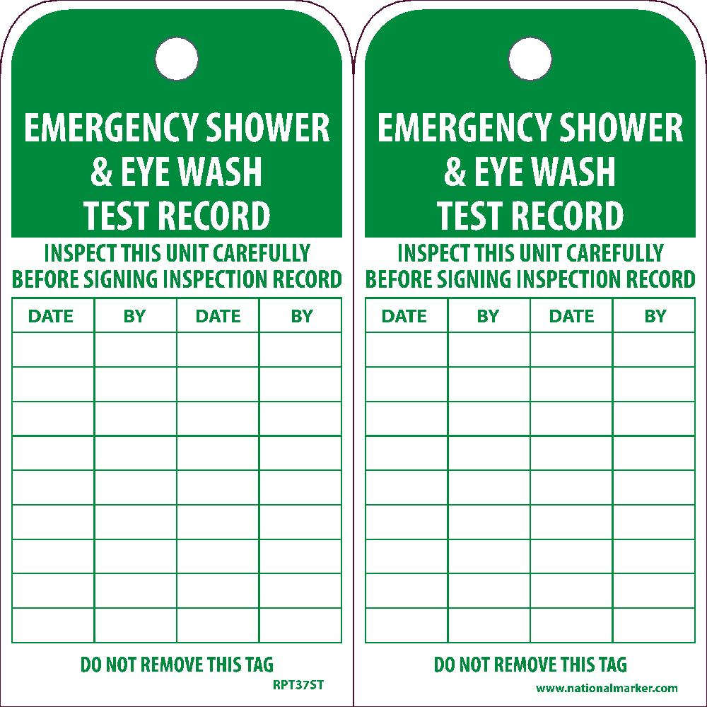 Emergency Shower & Eye Wash Test Record Tag - Pack of 25