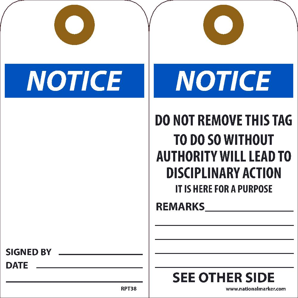 Notice Signed By___ Date___  Tag - Pack of 25