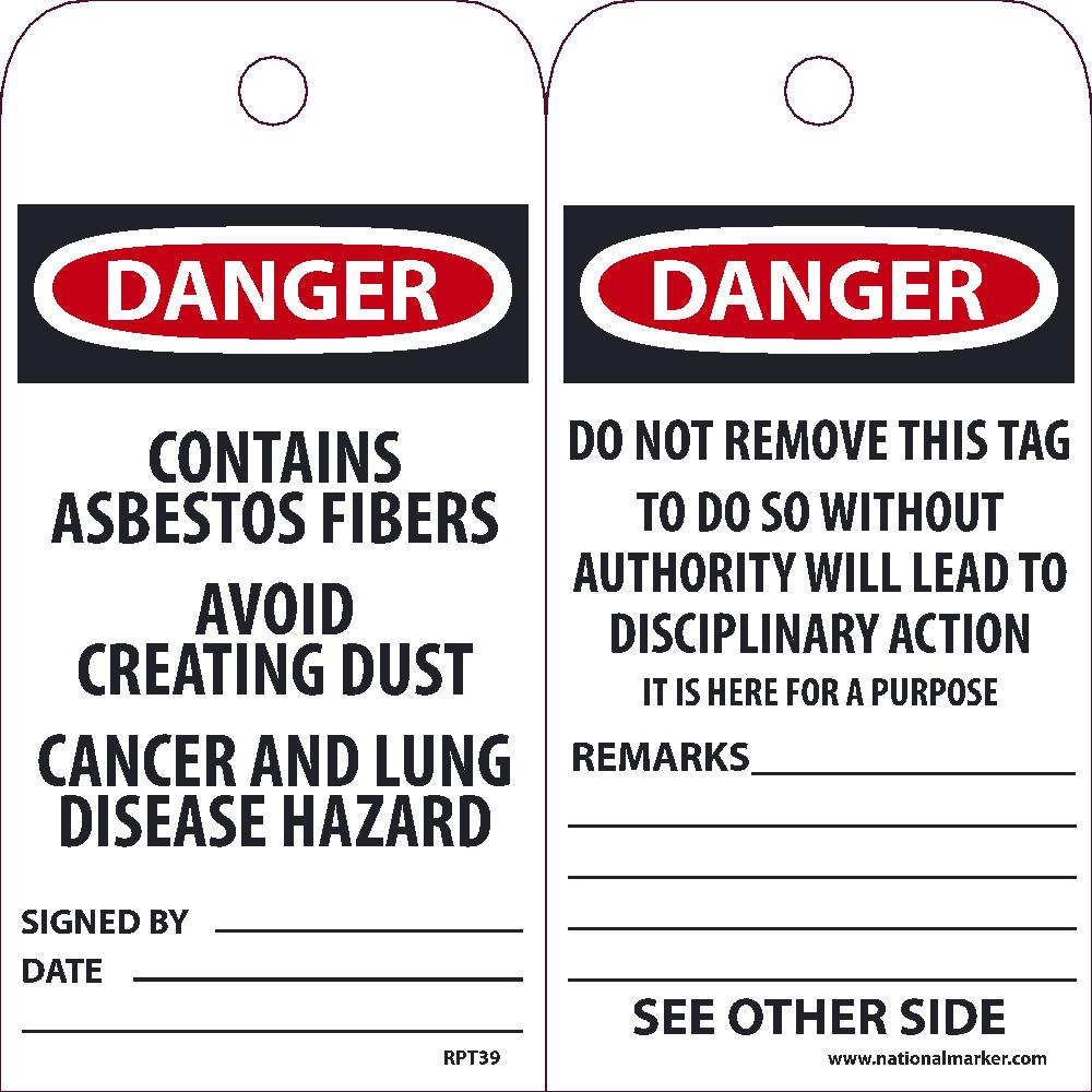 Danger Contains Asbestos Fibers Tag - Pack of 25