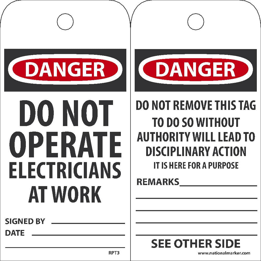 Danger Do Not Operate Electricians At Work Tag - Pack of 25