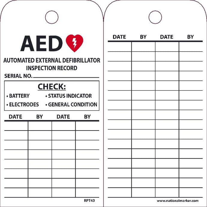 Aed Automated External Defibrillator Inspection Record Tag - Pack of 25