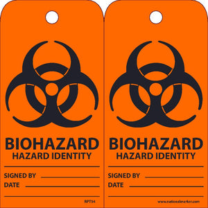 Biohazard Hazard Identity Signed By___ Date___ Tag - Pack of 25