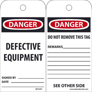 Danger Defective Equipment Tag - Pack of 25