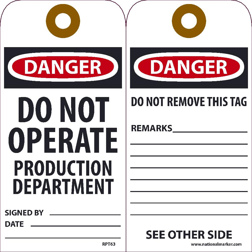 Danger Do Not Operate Production Department Tag - Pack of 25