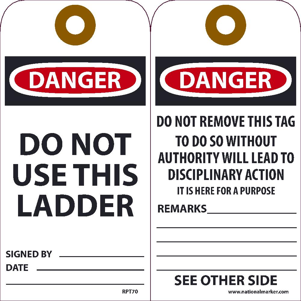 Danger Do Not Use This Ladder Tag - Pack of 25