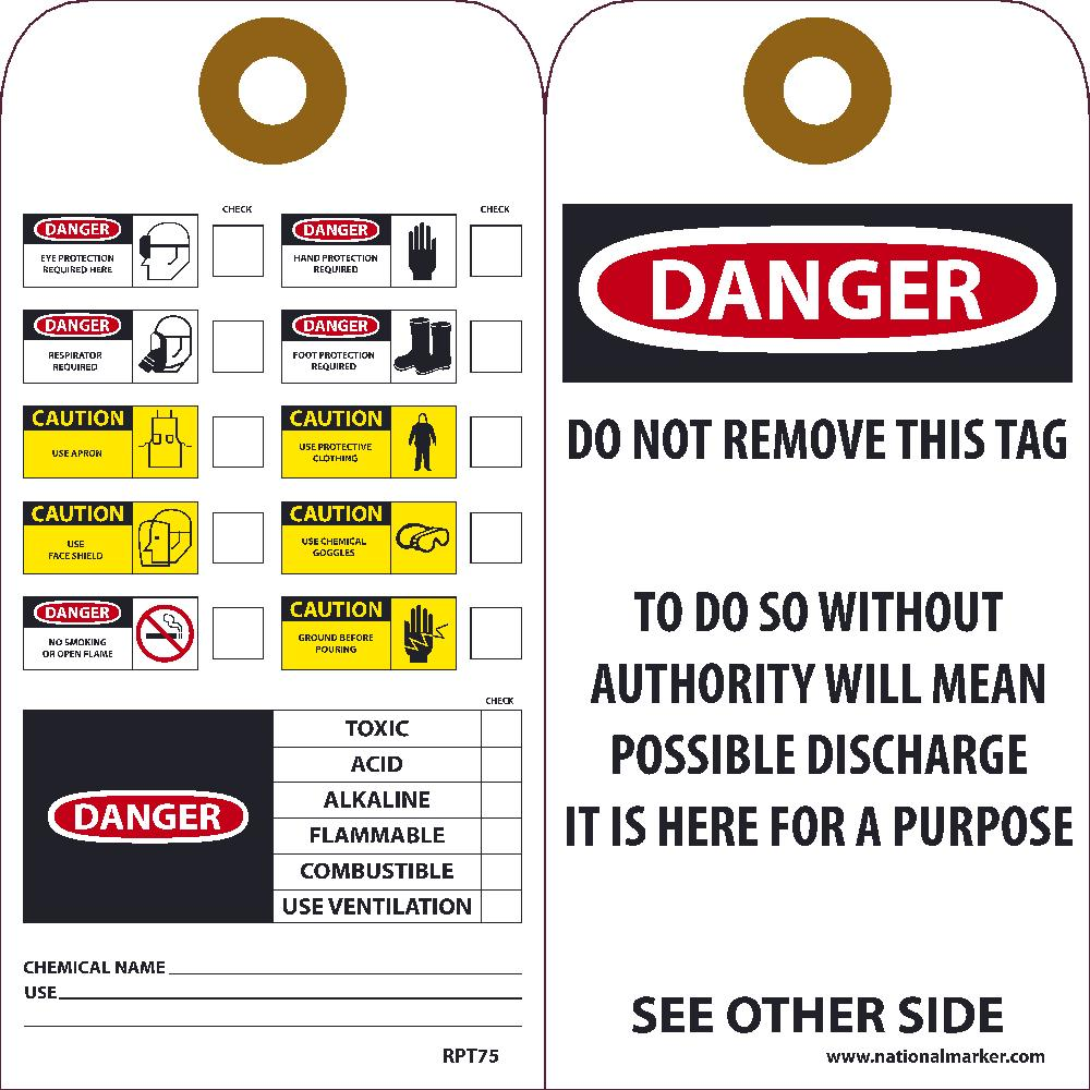 Danger Ppe Required Here Tag - Pack of 25