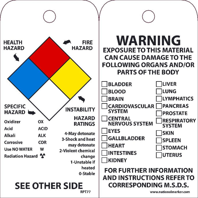 Right-To-Know Tag - Pack of 25