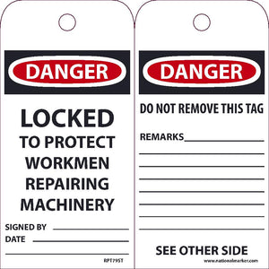 Danger Locked To Protect Workmen Repairing Machinery Tag  - Pack of 25