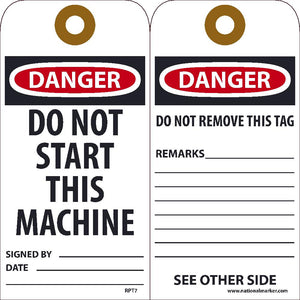 Danger Do Not Start This Machine Tag - Pack of 25