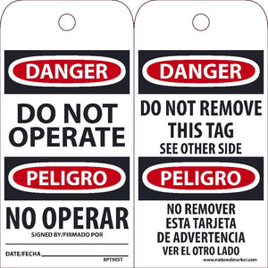 Danger Do Not Operate Bilingual Tag - Pack of 25