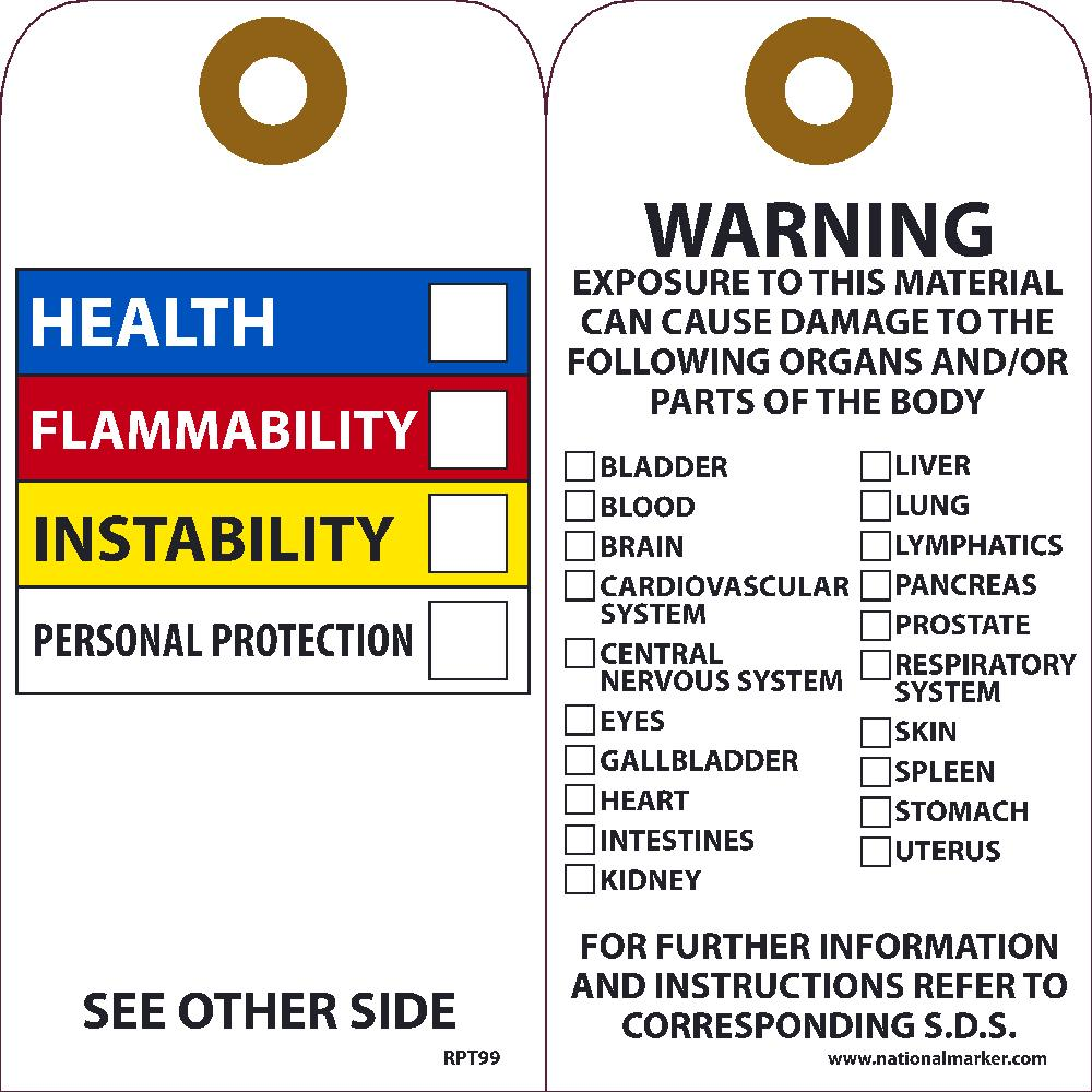 Hazardous Communications Bar Tag - Pack of 25