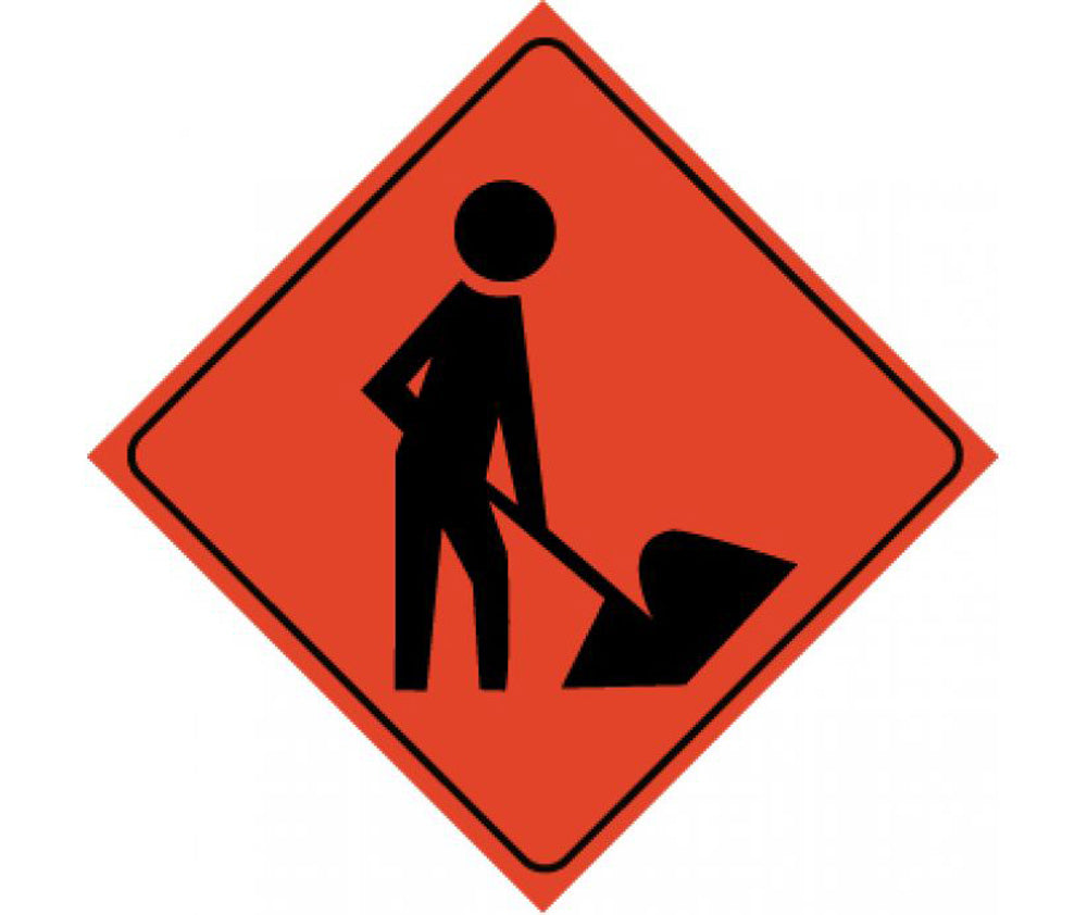 Reflective Roll-Up Workers Ahead Sign