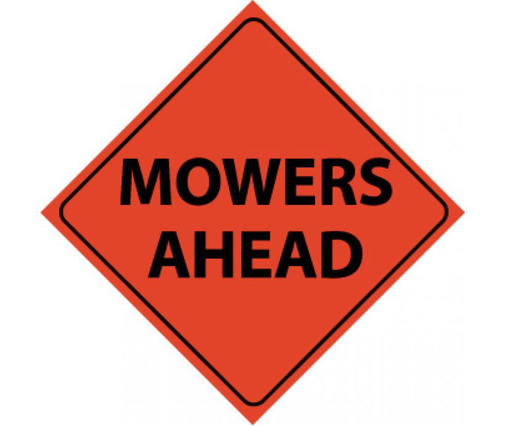 Reflective Roll-Up Mowers Ahead Sign