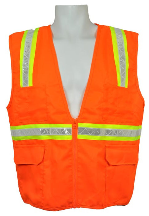 3A Safety - Multi-Pocket Surveyor's Safety Vest - Solid Front/Back Orange Color Size XX-large