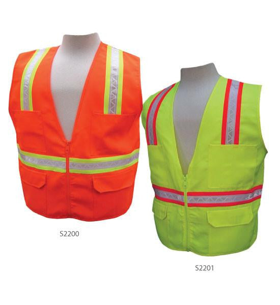 3A Safety S2201-5XL Multi Pocket Vest with Mesh Back, Lime