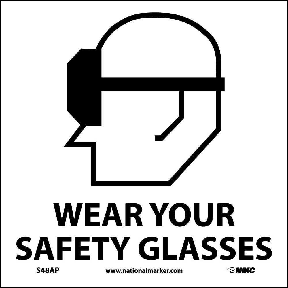 Wear Your Safety Glasses Label - 5 Pack